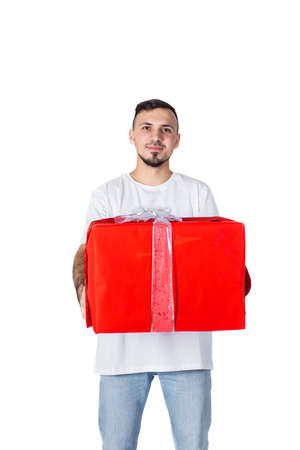 unshaven man with present box. Happy birthday. Man share present. Romantic greeting. Boxing day. Love date. Valentines day gift. Male fashion.