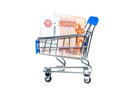Shopping basket with Russian ruble notes, 5000 rubles in a cart
