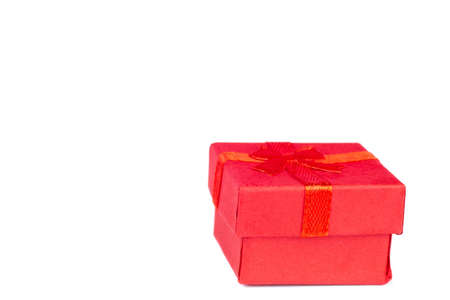 Gift box with red bow isolated on white background 免版税图像