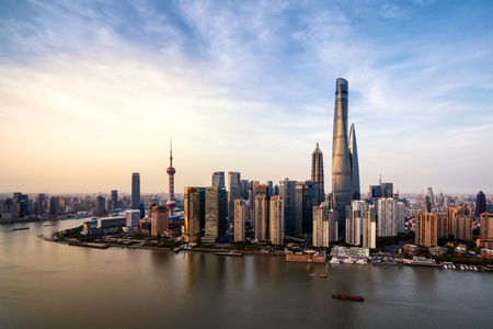 huang pu: Shanghai city skyline in sunset