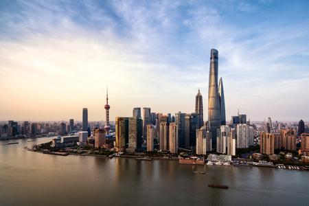 pu dong: Shanghai city skyline in sunset