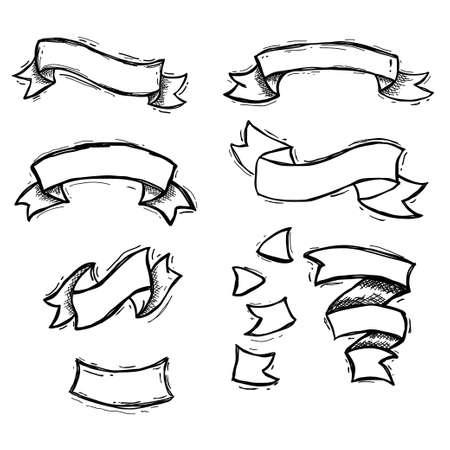 set of handdrawn ribbon, vintage retro and grunge vector design Illustration