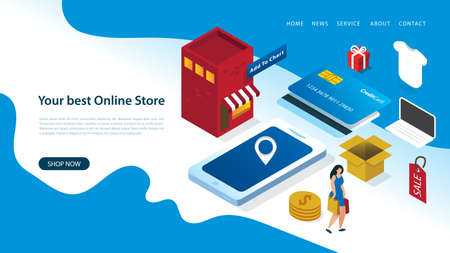 modern landing page design template with vector illustration of a woman online shopping with elements like smart phone, building, store, credit card, box, gifts, coins, shirt, and laptop. E-commerce.