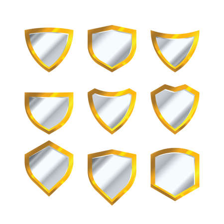 set of golden shield vector isolated on a white background Illustration