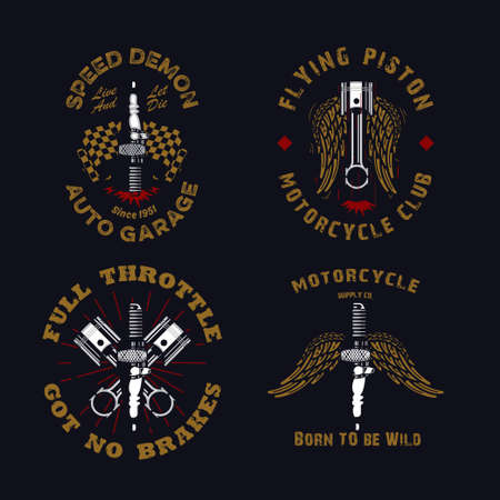 set of vintage  rustic and grunge motorcycle emblem with spark plugs, piston, wing, and checkered flag on a dark background, motorcycle apparel design.