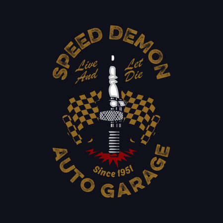 vintage and rustic spark plug and checkered flag emblem on a dark background