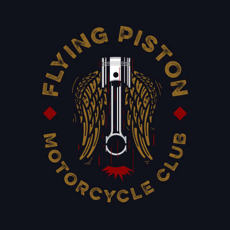 vintage style motorcycle club emblem with flying piston and wings on a dark background, suitable for motorcycle apparel design.