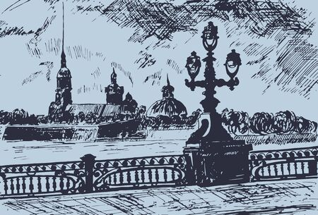 Vector illustration, view from the embankment, Peter and Paul Fortress in St. Petersburg - the oldest architectural monument of the city. The date of laying the fortress is considered the founding date of the Northern capital. The history of the city begins with it.