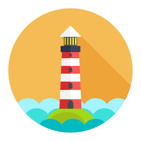 lighthouse beam: navigation sea tower icon Illustration