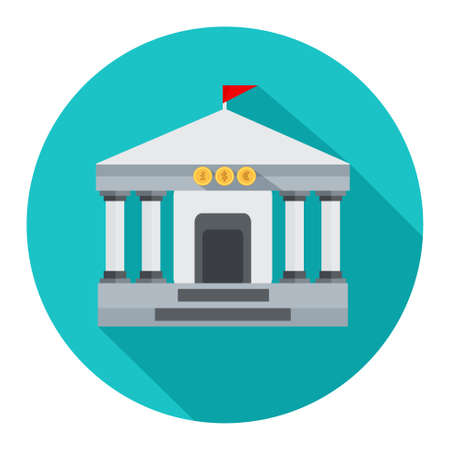 Bank building icon Illustration
