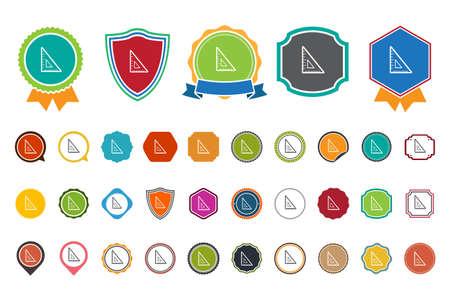 millimeter: triangle  ruler  icon Illustration
