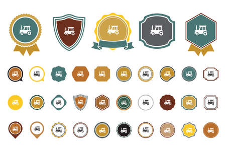 vector tractor icon set Illustration