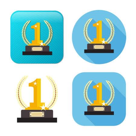 winner icon - gold prize - vector prize - champion emblem - success symbol Иллюстрация