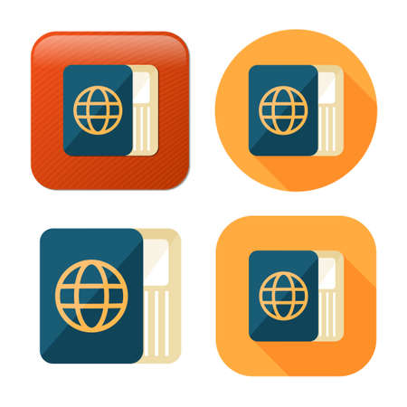 passport and ticket icon - flight pass - airplane boarding sign - travel and tourism icon Иллюстрация