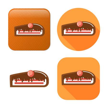 chocolate cake dessert icon - vector sweet food - birthday cake Иллюстрация