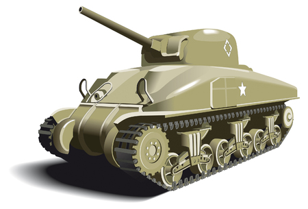 allied: Detailed vectorial image of American Tank - M4 Sherman - basic unit of American land forces in World War II. Illustration