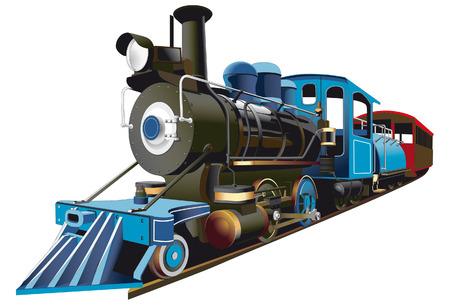 pociąg: szczegółowy obraz lokomotywa połowie 19 wieku, izolowana na białym tle