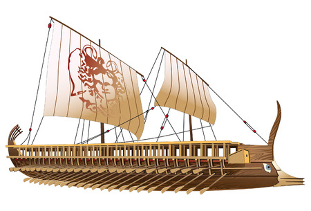 Detailed image of ancient military ship with two rows of oars and image of Gorgon on sail