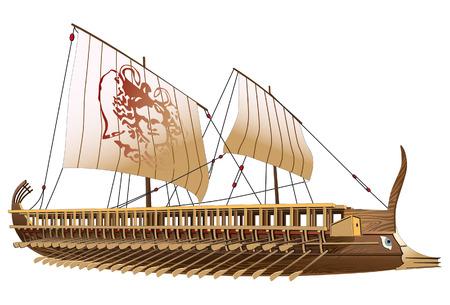 grecia antigua: Imagen detallada de antiguo buque militar con dos filas de remos y la imagen de la gorgona en vela