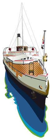 steamship: Vectorial beeld van vintage stoom schip, geïsoleerd op een witte achtergrond Stock Illustratie