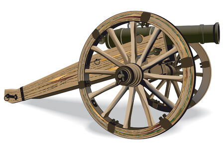 cannon: image of field-gun of times of American Civil War, isolated on white background Illustration