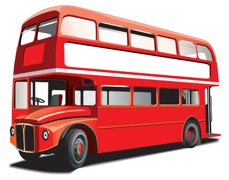London double decker bus isolated on white with white frame for Your text Vector