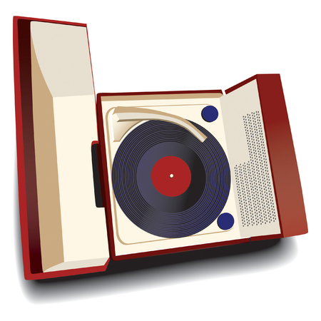 white bacground: Old-fashioned record player isolated on white bacground