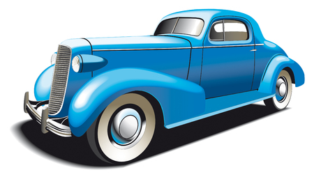 vintage car: Vectorial image of blue vintage car. Contains gradients and blends.