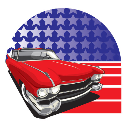 vectorial image of vintage car on a background American symbolism Stock Vector - 5742920