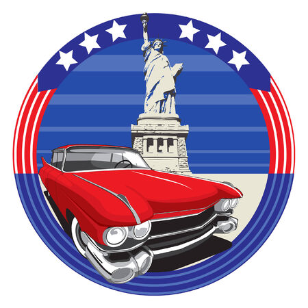 symbolism: vectorial image of vintage car on a background American symbolism with Statue of Liberty Illustration