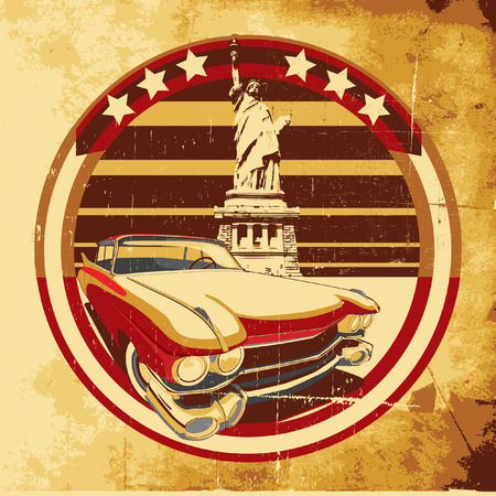 symbolism: old paper background with round vignette with vintage car on a background American symbolism and Statue of Liberty, executed in the limited palette