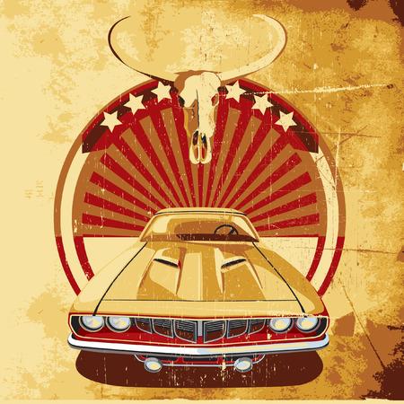 course de voiture: ancien arri�re-plan de papier avec une vignette ronde avec voiture vintage sur un arri�re-plan sunrise et le cr�ne de bison, ex�cut�e dans la palette limit�e