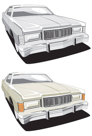 coloration: vectorial image of retro car executed in two variants of coloration