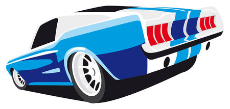vectorial image of blue muscle car Illustration