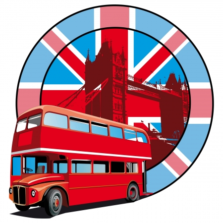 thoroughfare: Round vignette with image of double decker bus on background English symbolism