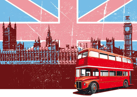 english: Grunge background with image of double decker bus and Houses Of Parliament on background English symbolism