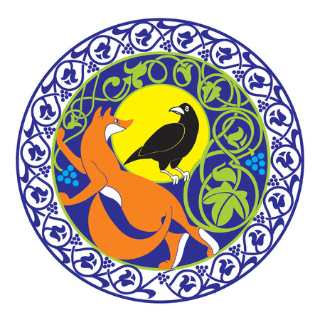 crows: a vignette with a fox and crow is executed in east style
