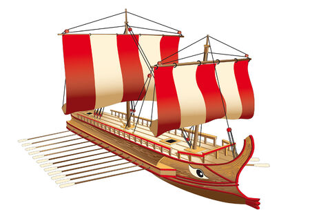 oars: Detailed image of ancient Greece war ship Illustration