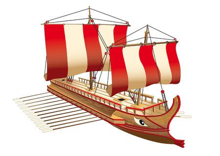 antica grecia: Immagine dettagliata della nave di guerra antica Grecia