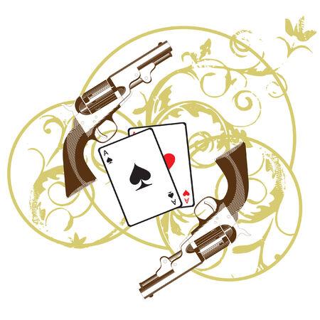 white bacground: Vi�eta con tarjetas y dos pistolas, ejecutados en la gama restringida, aislada en bacground blanco Vectores