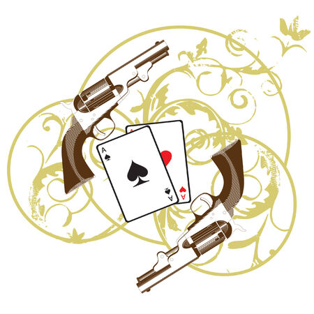 Vignette with cards and two pistols, executed in the restrained gamut, isolated on white bacground Vector