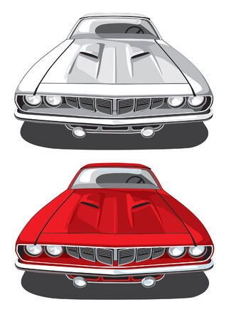 variants: vectorial image of sports car executed in two variants of coloration