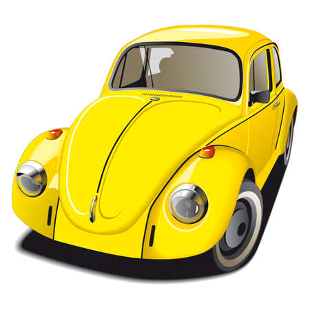 roadster: Old-fashioned Beetle car Illustration