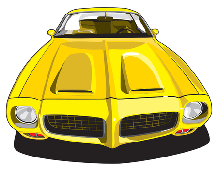 vectorial image of yellow sports car
