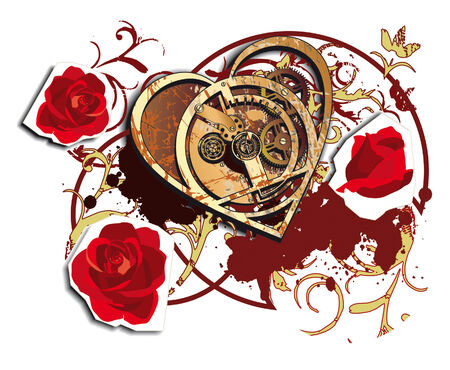 Vectorial vignette with mechanical heart and roses isolated on white background Stock Vector - 5748000