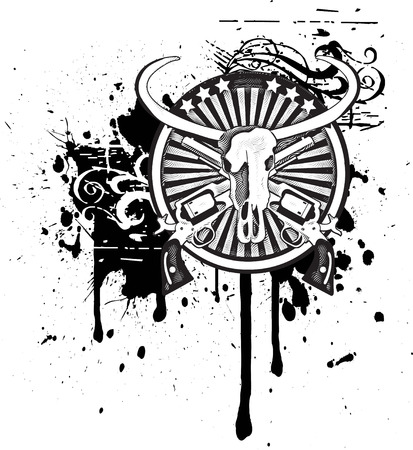 Black & white round vignette with skull of Buffalo and two guns Stock Vector - 5758726