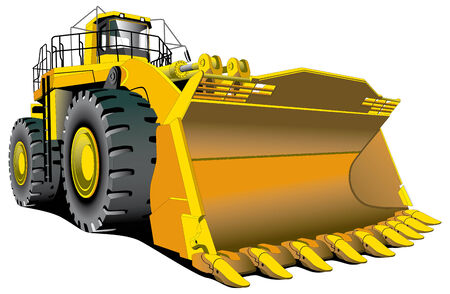 yellow tractor: Imagen vectorial detallada de grande dozer aislado sobre fondo blanco