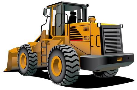 yellow tractor: imagen vectorial detallada de bulldozer aislado sobre fondo blanco