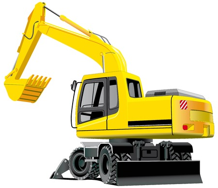 grab: detailed vectorial image of excavator isolated on white background