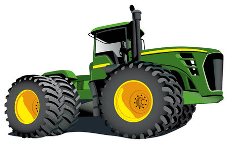 maquinaria pesada: Imagen vectorial detallada de gran tractor agraria aislado sobre fondo blanco